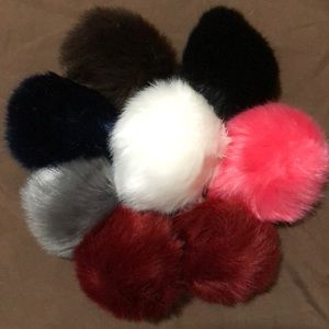 Accessories - Faux Fur Pom Keychains w/ pearl accent